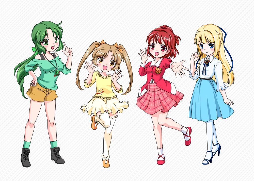 女の子4人組キャラクターデザイン制作 さらえみ Illustration
